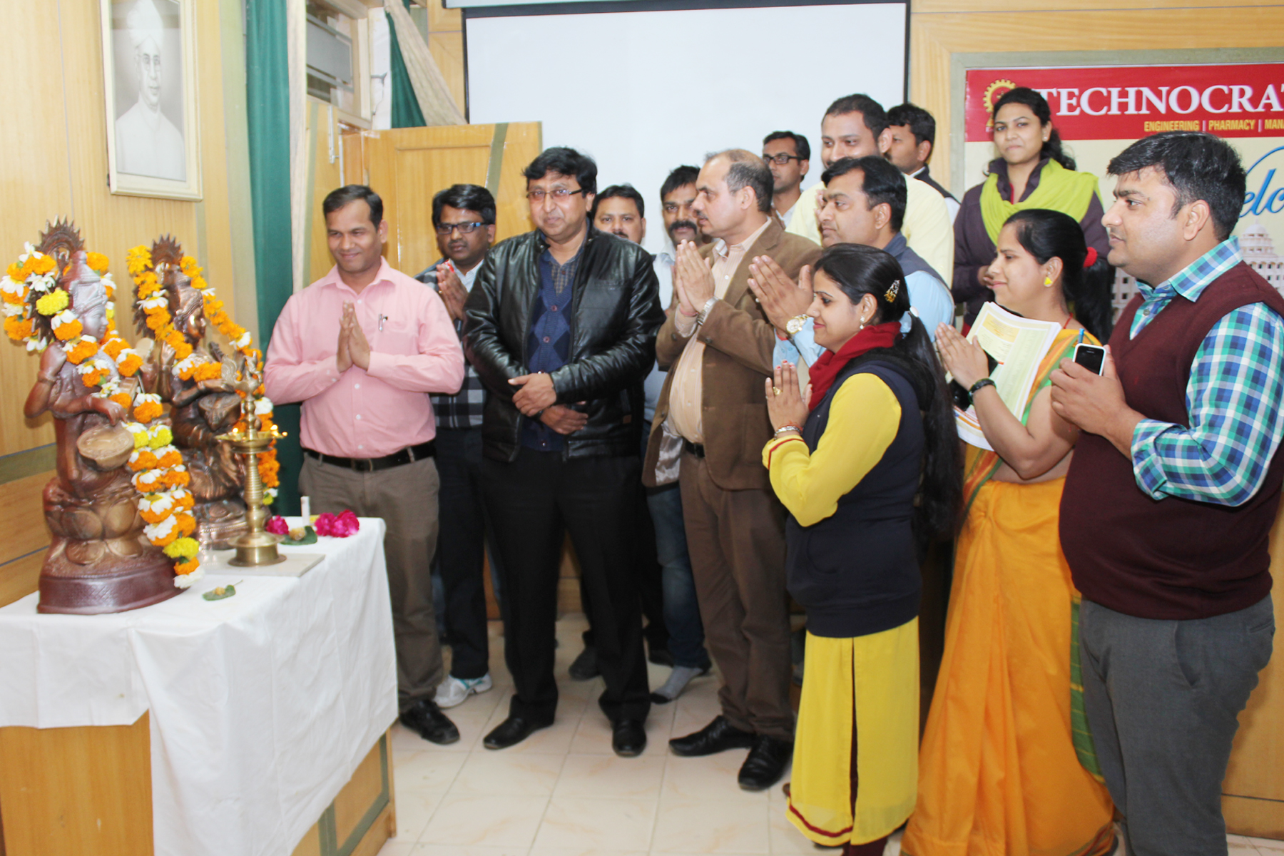 Technocrats TIT Group celebrated Basant Panchami with great enthusiasm and began with worship of Godess Saraswati